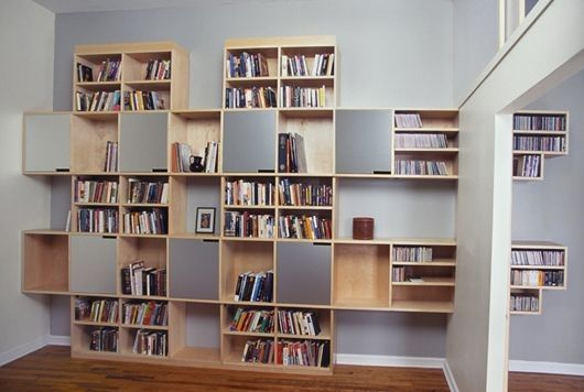 Cupboard Modern Shelving Bookshelve Arrangement Idea In