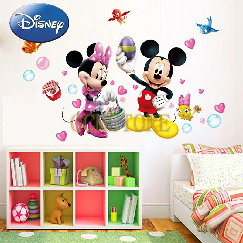 Minnie Mickey Theme Removable Disney Wall Stickers For Kids Room Nice Design