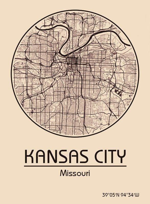 Karte Map Kansas City Missouri Vereinigte Staaten von