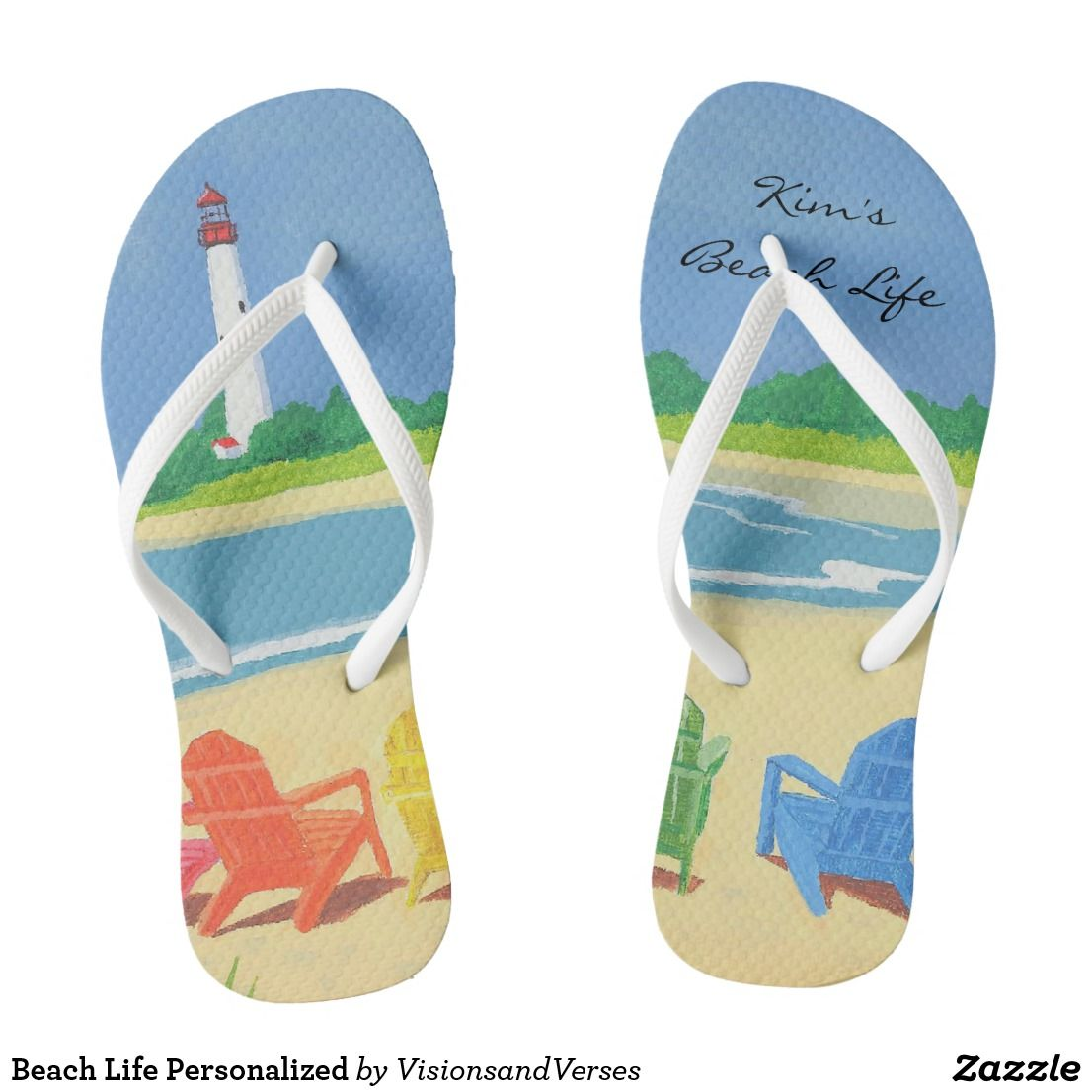 Beach life personalized flip flops