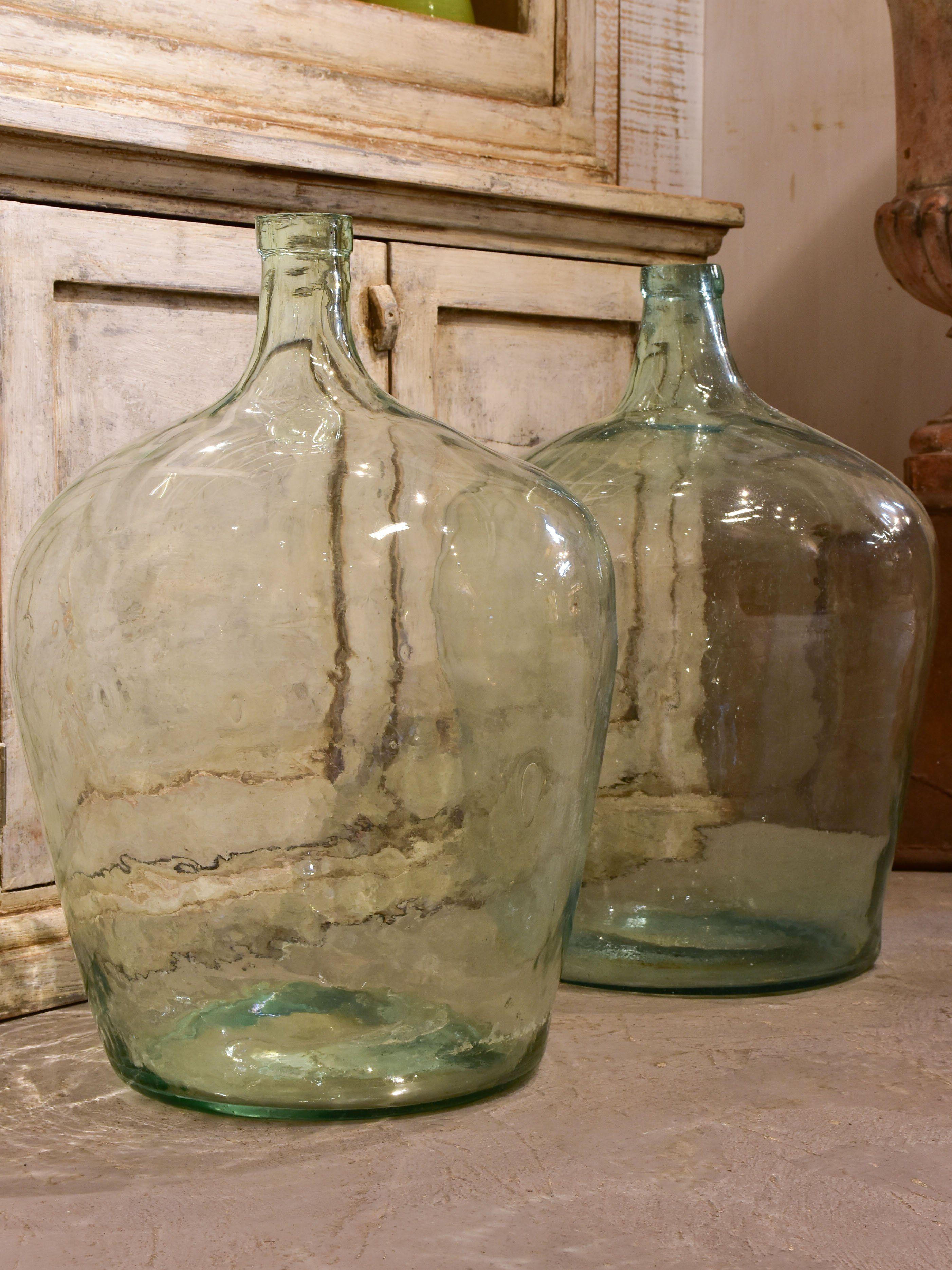 Pair Of Antique Demijohn Bottles