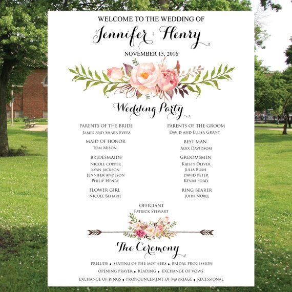 printable wedding program sign custom boho floral wedding program