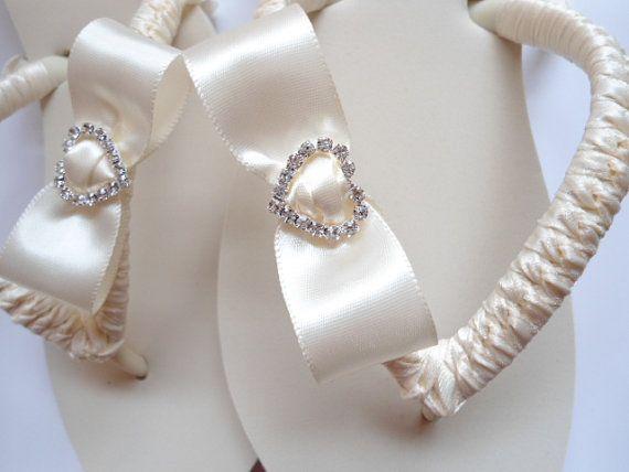 Ivory Wedding Flip Flops, Ivory Flip Flops, Ivory Bridal -3608