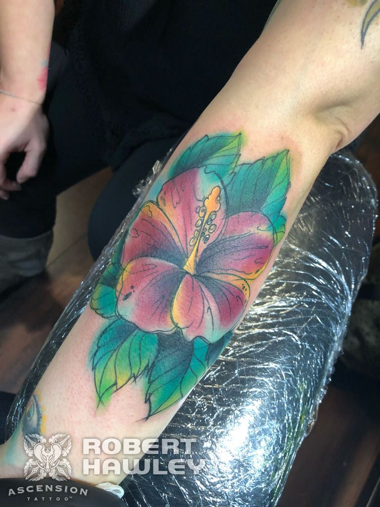 Sketchy Hibiscus Tattoo By Robert Hawley Orlando Fl Www