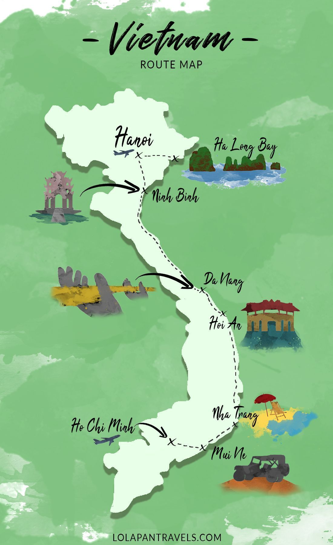 Vietnam Route Map Travel Guide Vietnam Karte Routenkarte