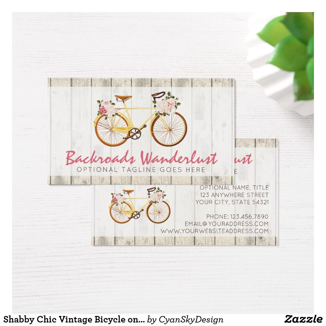 Shabby chic vintage bicycle on rustic wood custom business card shabby chic vintage bicycle on rustic wood custom business card reheart Image collections