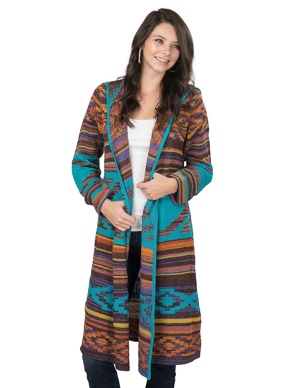 Steel Roses Women's Teal Aztec Print Long Sleeve Sweater Duster ...