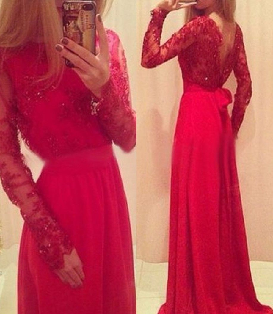 Ulass red long prom dresses lace beaded long sleeves with bow