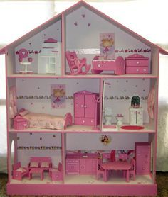 Casita de mu ecas barbie pintada y decorada con muebles - Venta de casitas infantiles ...