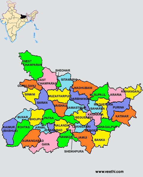 Map Of Bihar State Bihar Districts Map | Indian States | India map, West bengal