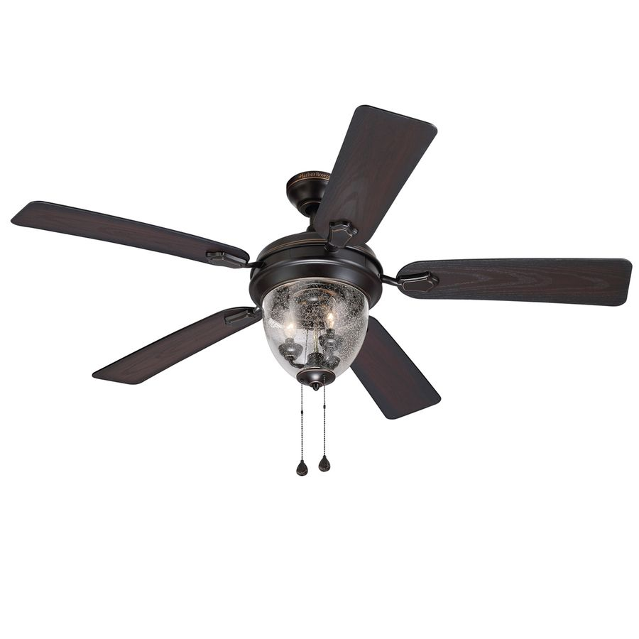 Shop Harbor Breeze 52 In Bronze Downrod Or Close Mount Indoor Outdoor Ceiling Fan With Light Kit