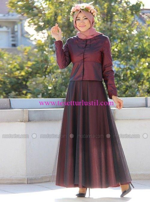ad7d61ec70c26 İzotantik Tafta Ceket-Tül Etek Abiye Takım Elbise | Tesettür Abiye ...