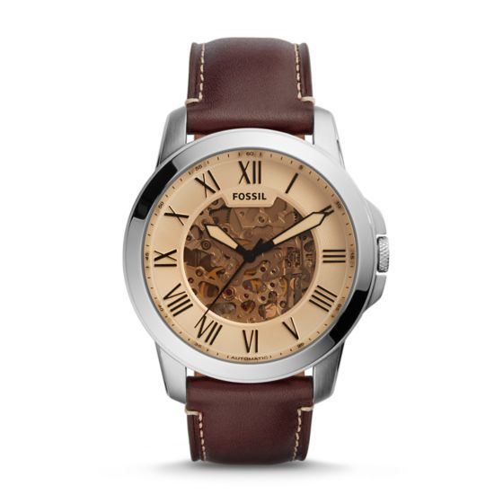 Sleek, self-winding and styled to tick on time with a built-in rotor, our Grant does the work for you. Modeled after vintage clocks, this timeless automatic gets a refresh with a trench-tinted dial finish and genuine dark brown leather strap.