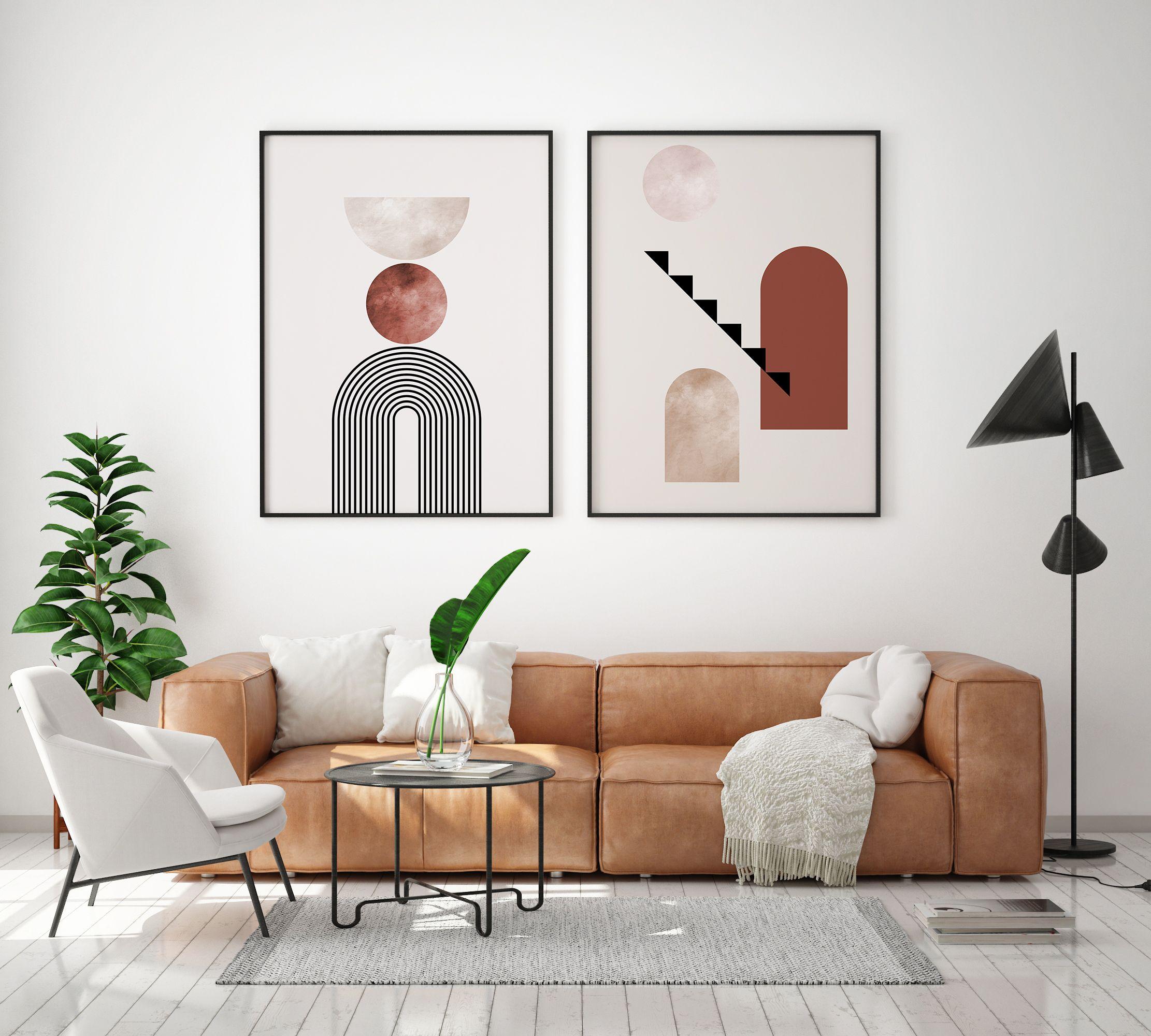 Mid Century Modern Wall Art Bohemian Earth Tones Printable Etsy In 2020 Modern Southwest Decor Mid Century Modern Walls Living Room Designs
