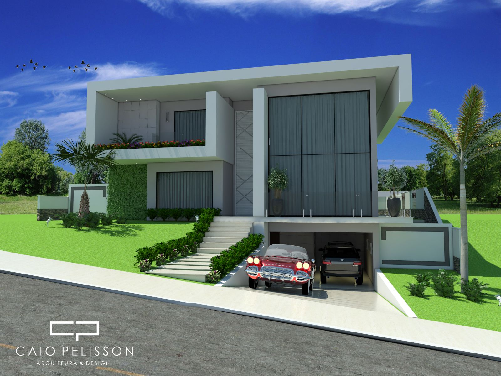 Projeto casa minimalista aproveitando declive lateral do for Casa minimalista veracruz