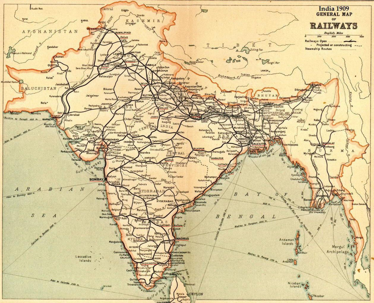 Railway Map of India 1909 cARTography Pinterest India History