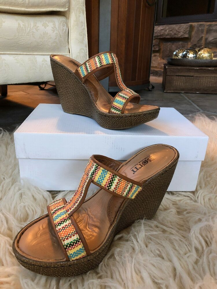 cba96c8edb16 BORN B67108 Lio Orange Aztec Platform Wedge Sandals womens size 6 36.5  woven  fashion  clothing  shoes  accessories  womensshoes  sandals (ebay  link)