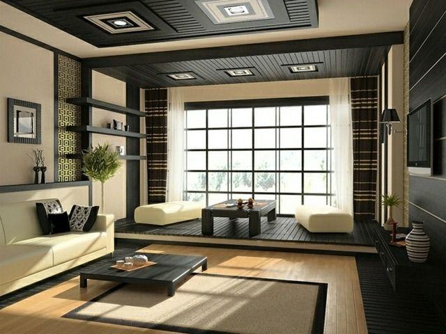 Wohnzimme Zen Stil gemütliches Ambiente niedriger Kieferholz ...