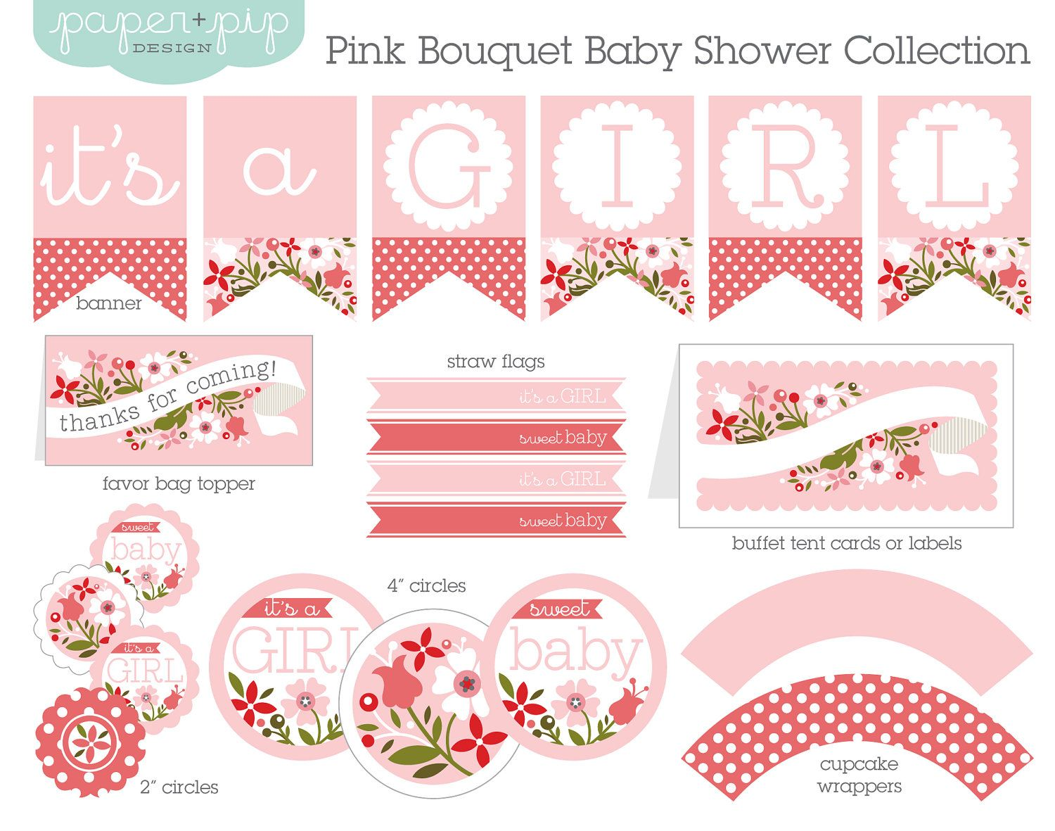 Baby Shower Decorations - Printable - Pink Bouquet | Pink bouquet ...