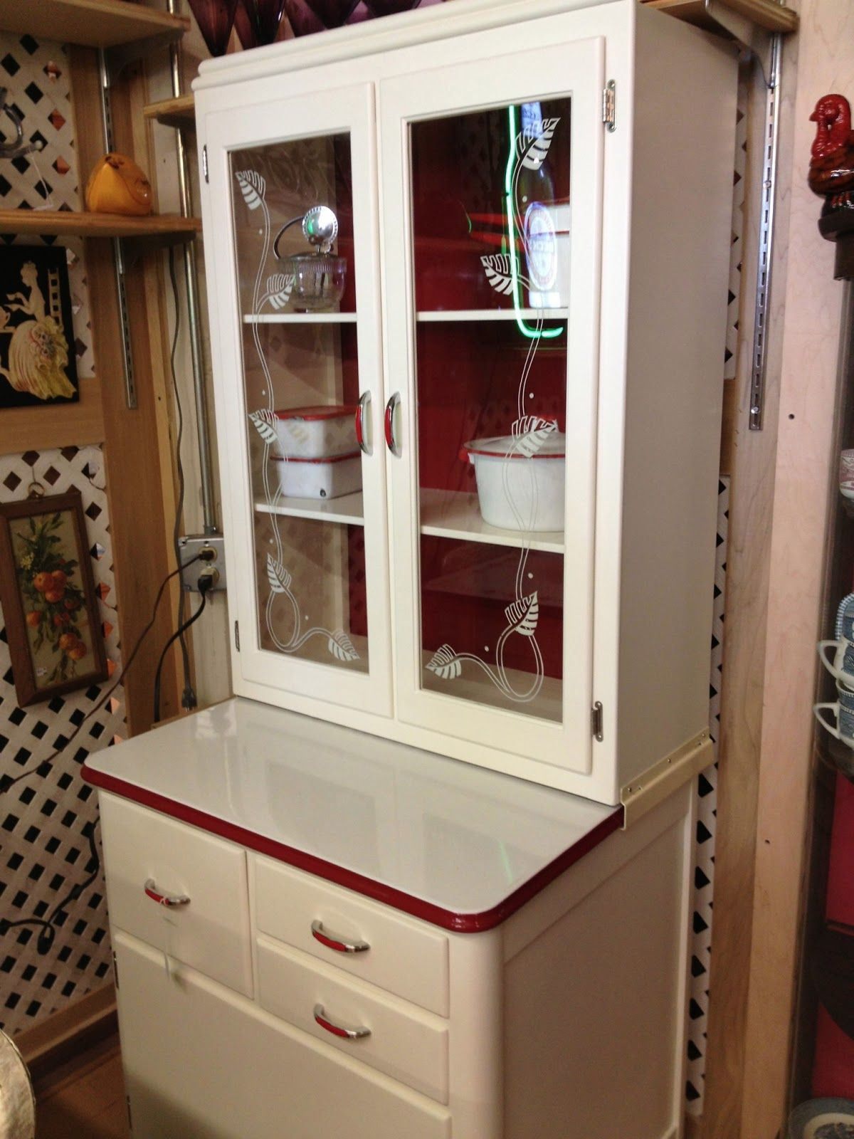 Hoosier Style Kitchen Cabinet Prices For Hoosier Cabinets Red And White Smaller