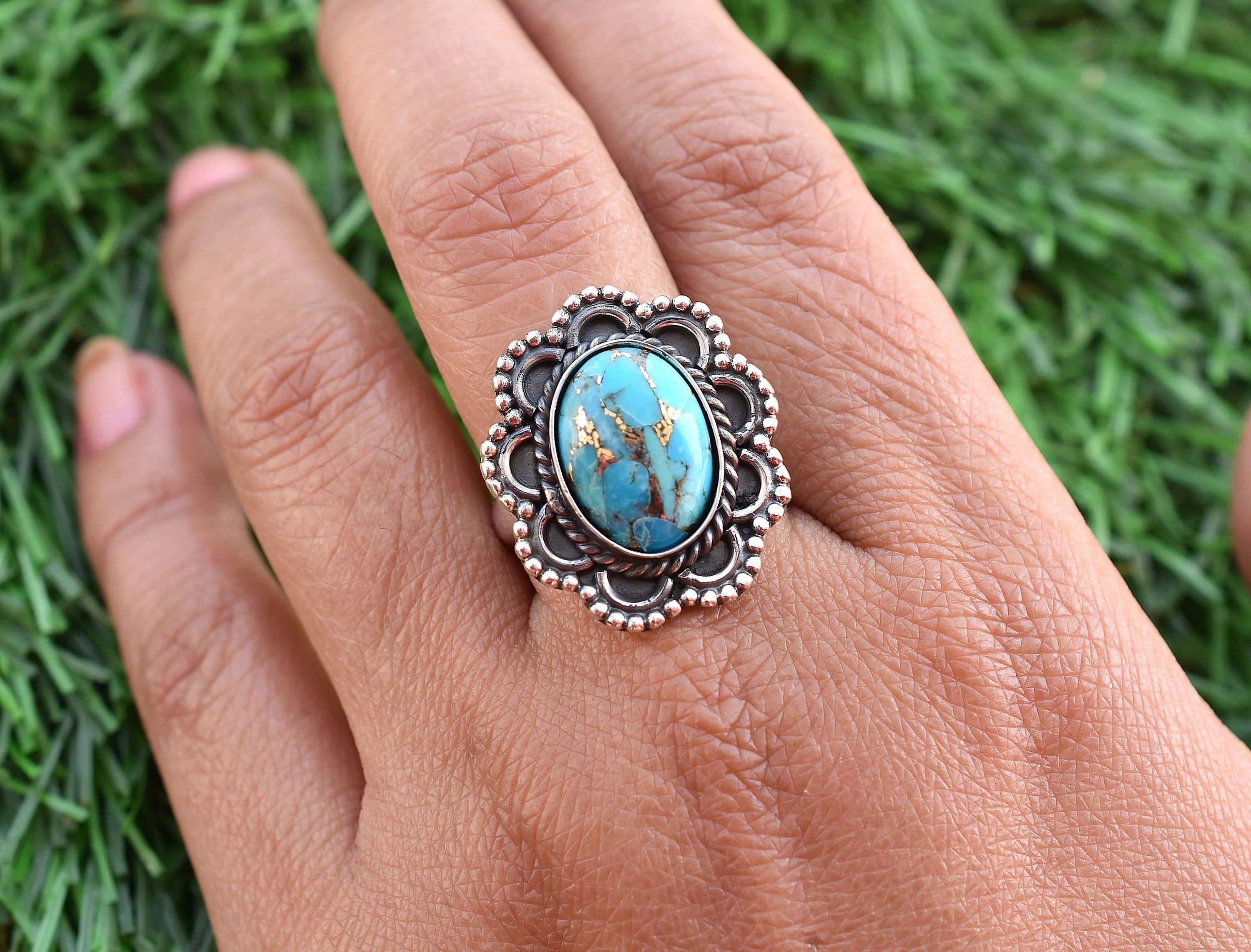 925 Silver Ring Turquoise Jewelry December Birthstone N0 Dainty Ring RT-020 Blue Copper Turquoise Ring Promise Ring Boho Ring