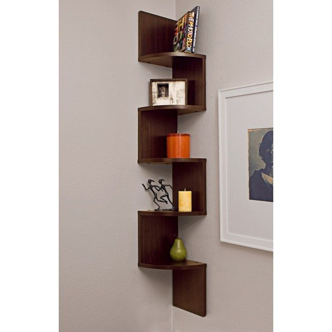 Laminated Walnut Veneer Corner Zig Zag Wall Mount Shelf Wall Decor .