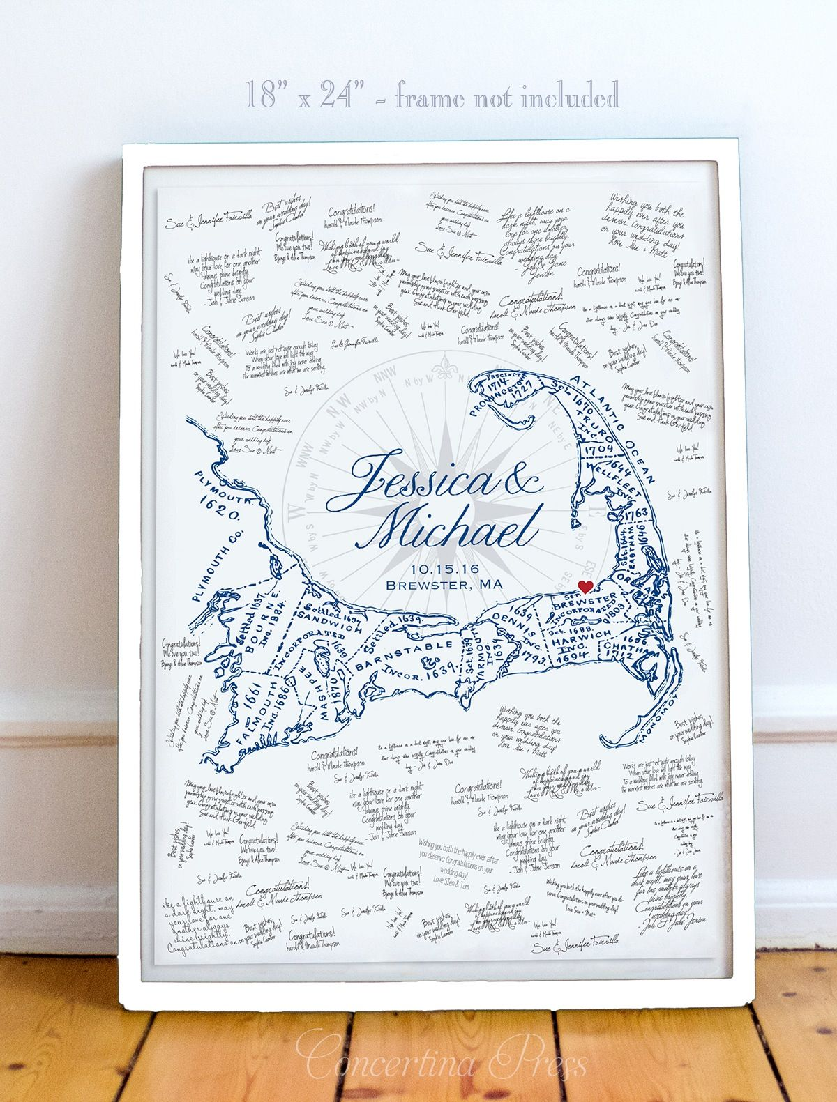 Cape Cod Wedding Ideas Part - 24: Image Of Cape Cod Wedding Guest Book With Map More