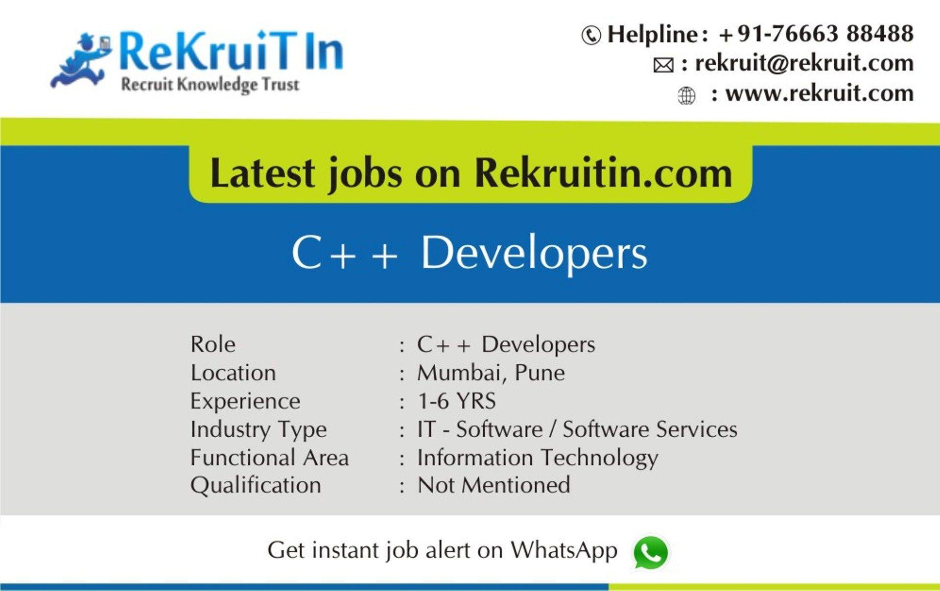 Jobopening for c developer in mumbai itjobs in