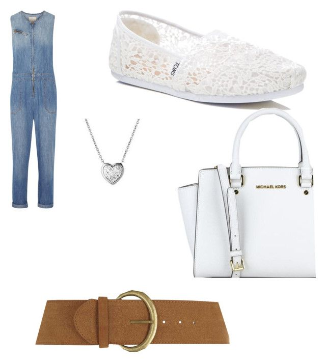 """Blue Jean Princess"" by coolteen14 ❤ liked on Polyvore featuring Current/Elliott, TOMS, Links of London, MICHAEL Michael Kors and Dorothy Perkins"