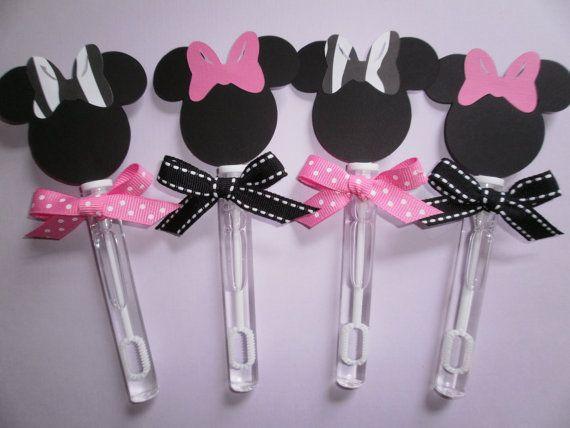 Minnie Mouse bubble wands, zebra print and polka dot