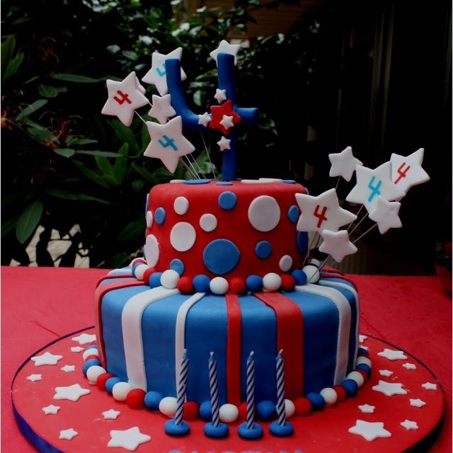 Amazing Unique Red White And Blue Cakes Red White And Blue Cake Idea Funny Birthday Cards Online Alyptdamsfinfo