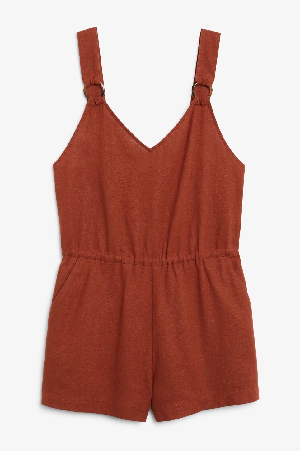 9204502d1e A lovely linen blend playsuit featuring slanted front pockets