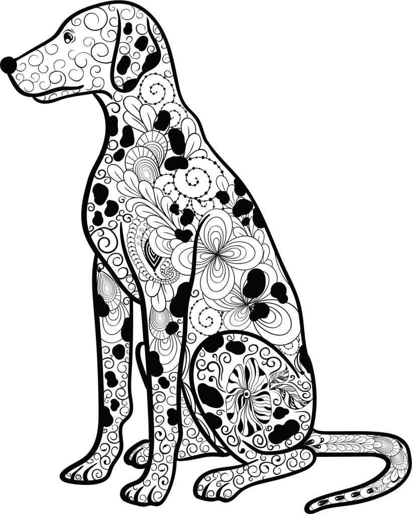 Kostenloses Ausmalbild Hund Dalmatiner Die gratis Mandala Malvorlage einfach ausdrucken und ausmalen