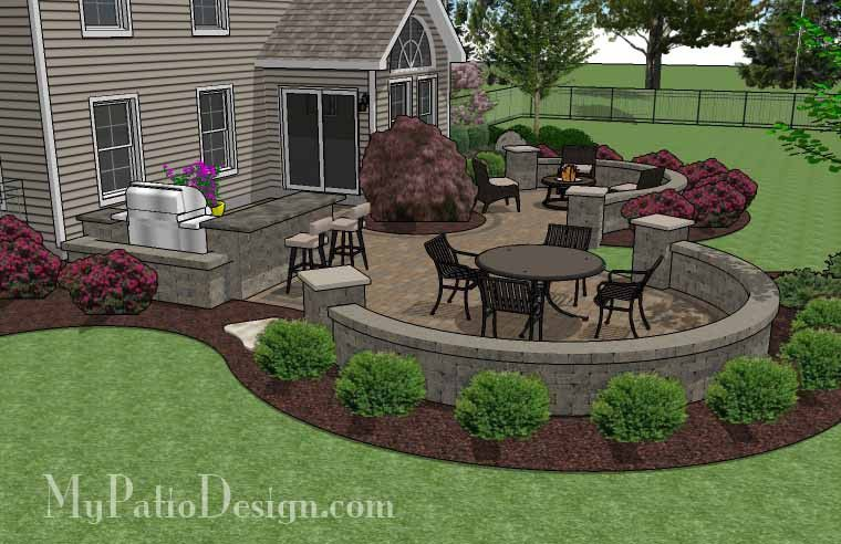Large paver patio design with grill station seat walls for Small patio design plans