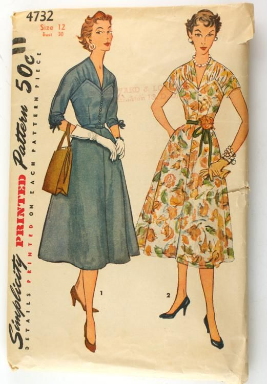 Simplicity 4732 Vintage 1950s Dress Sewing Pattern Bust 30 Pointed ...