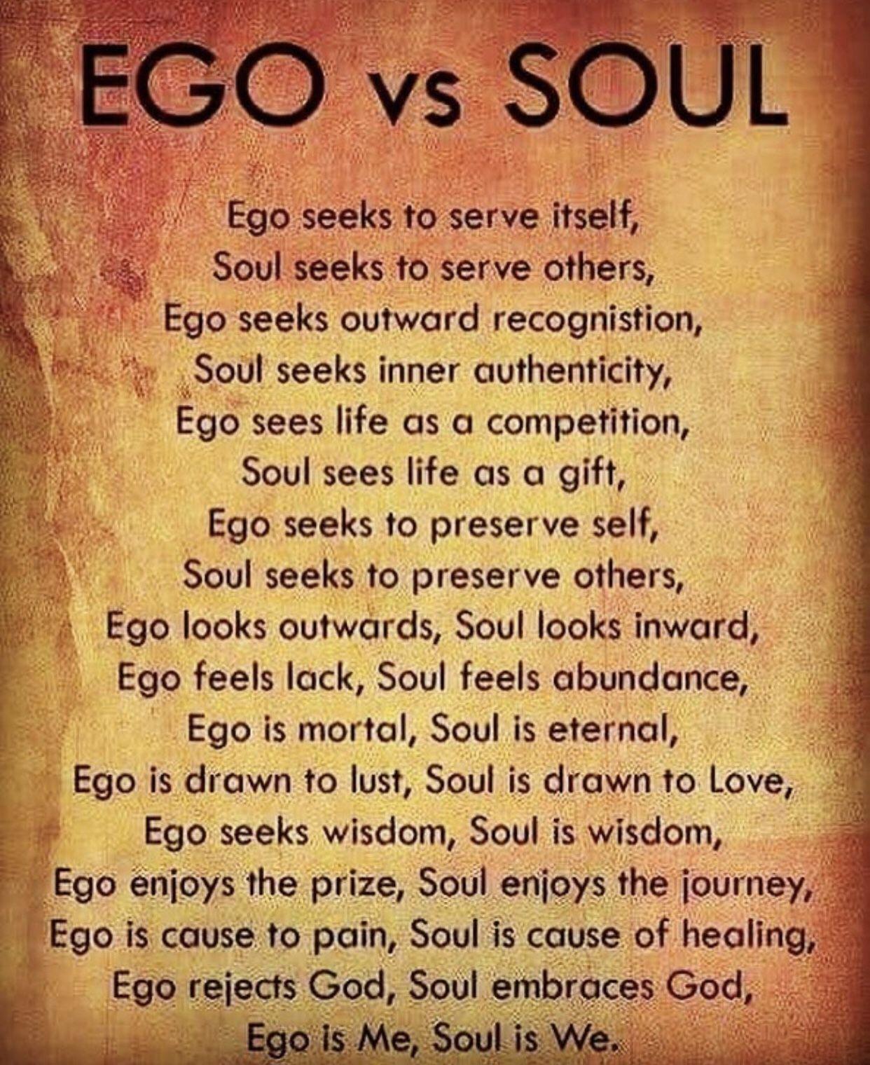 Ego versus Spirit/Soul | Ego vs soul, Ego quotes, Pride quotes