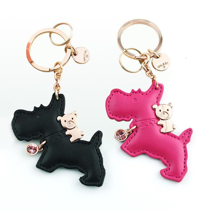 Milesi portachiavi in pelle di marca cucciolo, original progettato portachiavi cane, auto pendente del sacchetto regalo per l'amante, coppia portachiavi K0163