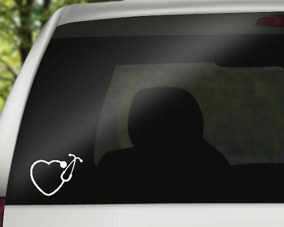 Stethoscope decal nurse decal stethoscope heart vinyl car decals stethoscope heart decal nurse gift car sticker
