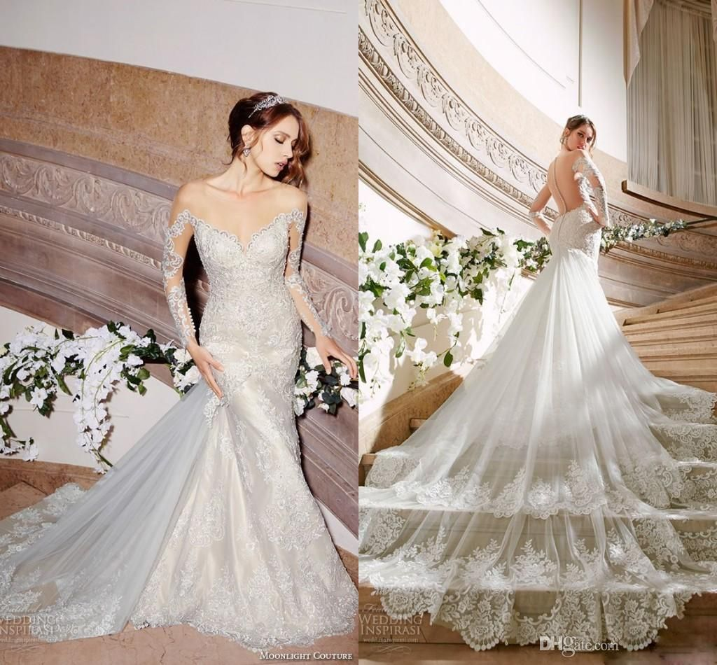 Wedding Dress Wholesale Spring Stylish 2016 Wedding Dresses Off The Shoulder Long Sleeves Lace Bridal Gowns Gorgeous Embroidery Chapel Train Scallop Mermaid Dress Designer Gowns From Cc_bridal, $132.36| Dhgate.Com