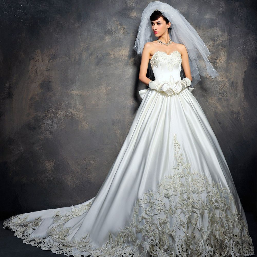 High-End Custom Beaded Swaroski Crystal Embroidery Satin Bow Long Tail Tube Top Winter Wedding Dress Middle-Rise High Quality $375.00