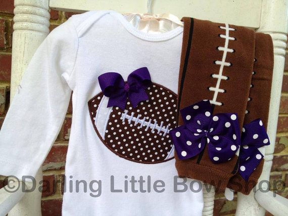 3ceed46024f Baby Girl Football oufit -- Football Princess -- polka dot football  bodysuit and leg warmers - CHOOSE colors to match YOUR TEAM