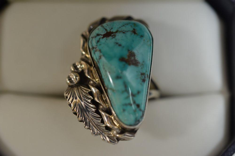 K.M. Turquoise Gemstone Southwestern Sterling Silver Size 7 1/2 7.5 Ring