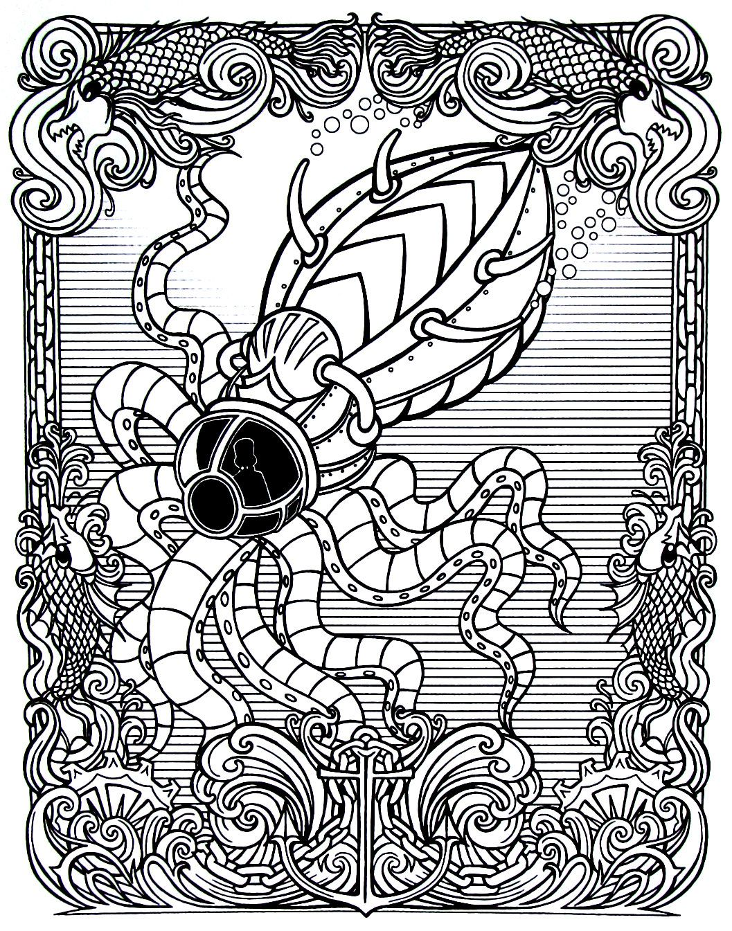 Steampunk Underwater Octopus Submarine Printable Coloring Book Page