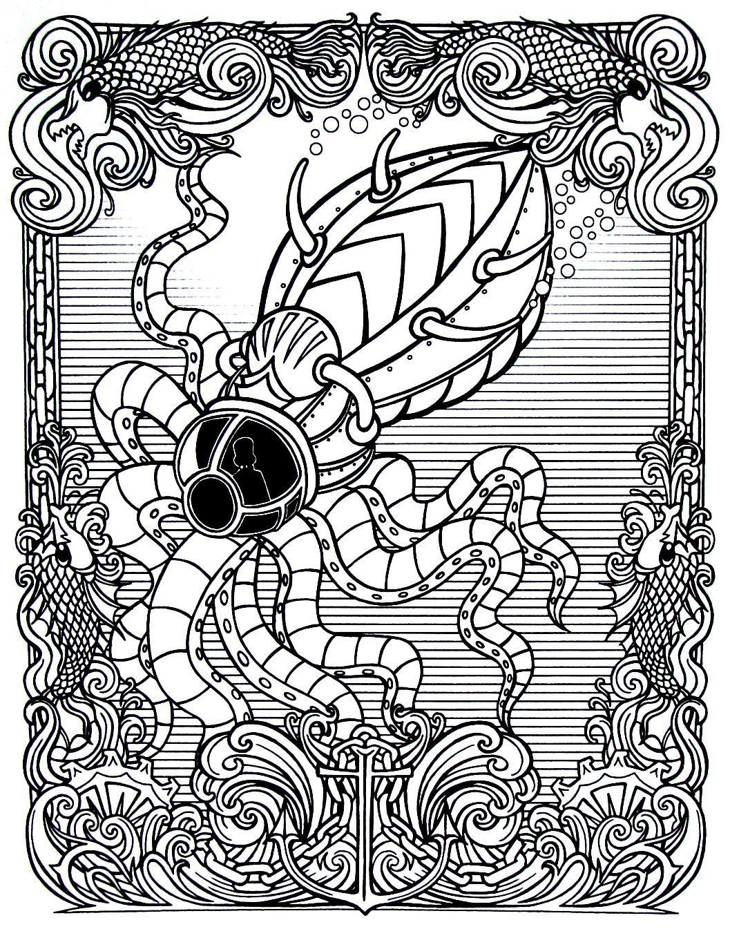 Steampunk Underwater Octopus Submarine Printable Coloring Book