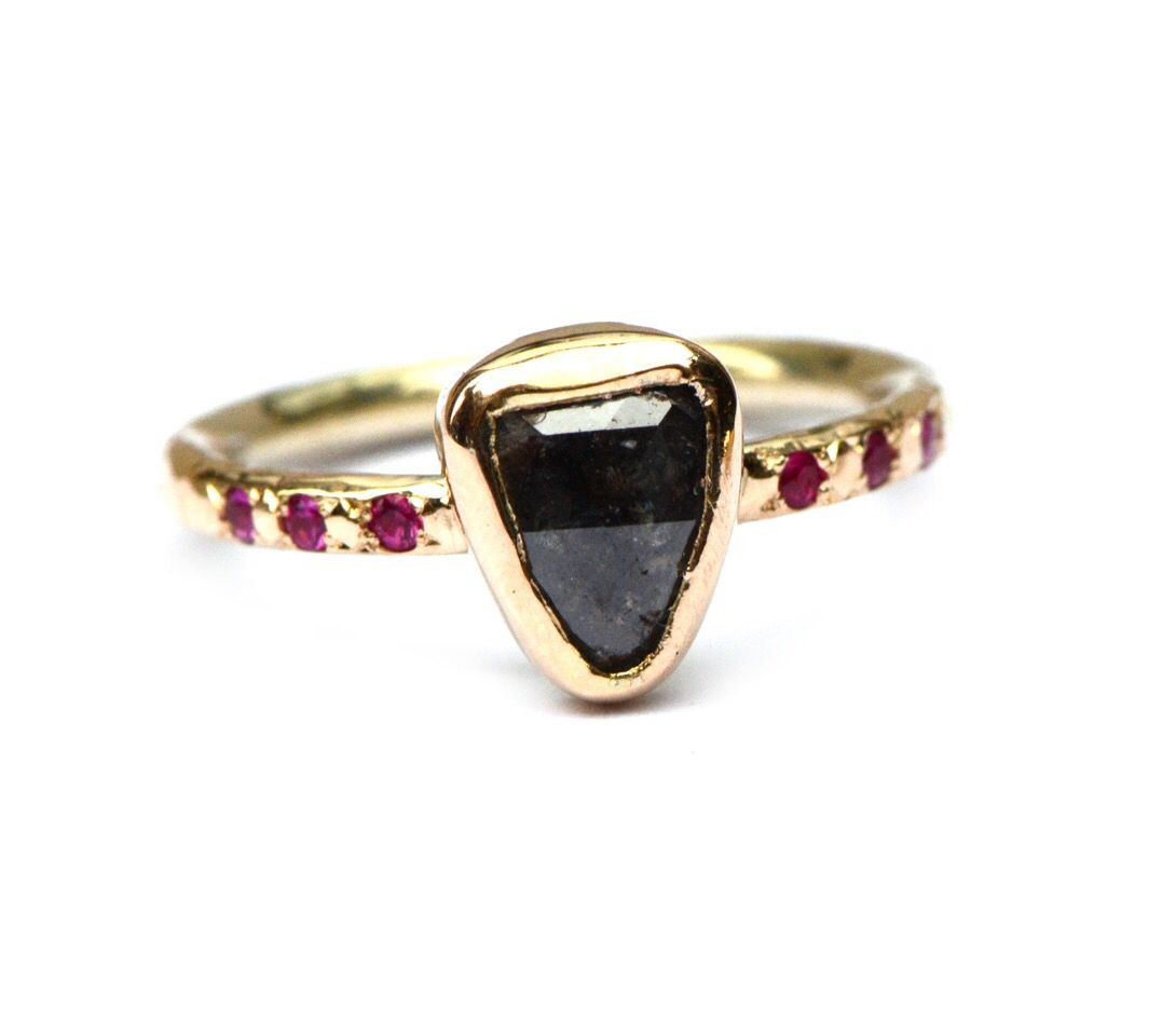 Rose cut diamond & ruby ring, one of a kind. Handmade by Nadine Kieft Jewelry Amsterdam www.nadinekieft.com
