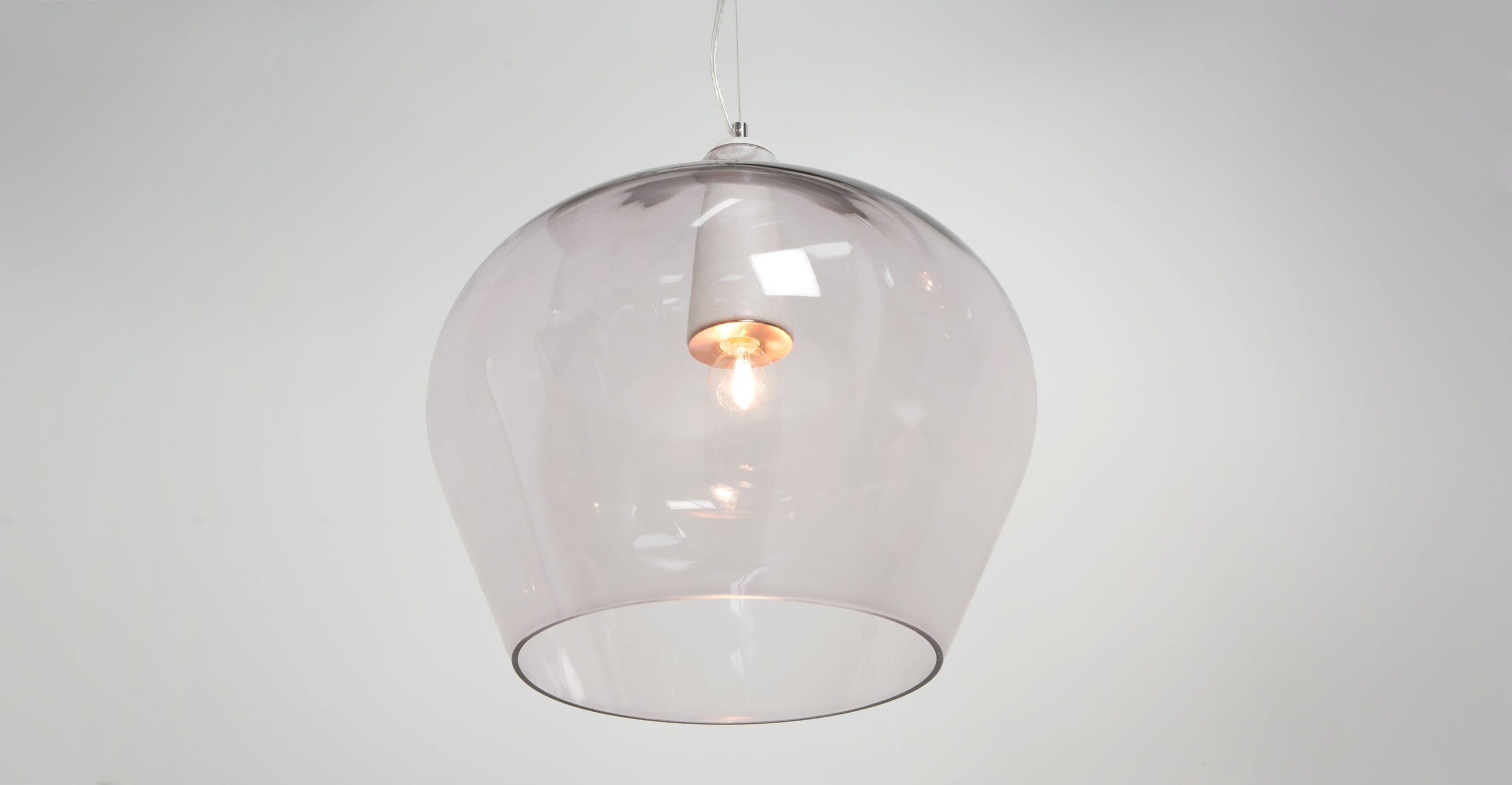 Mabel suspension verre fumé et marbre blanc