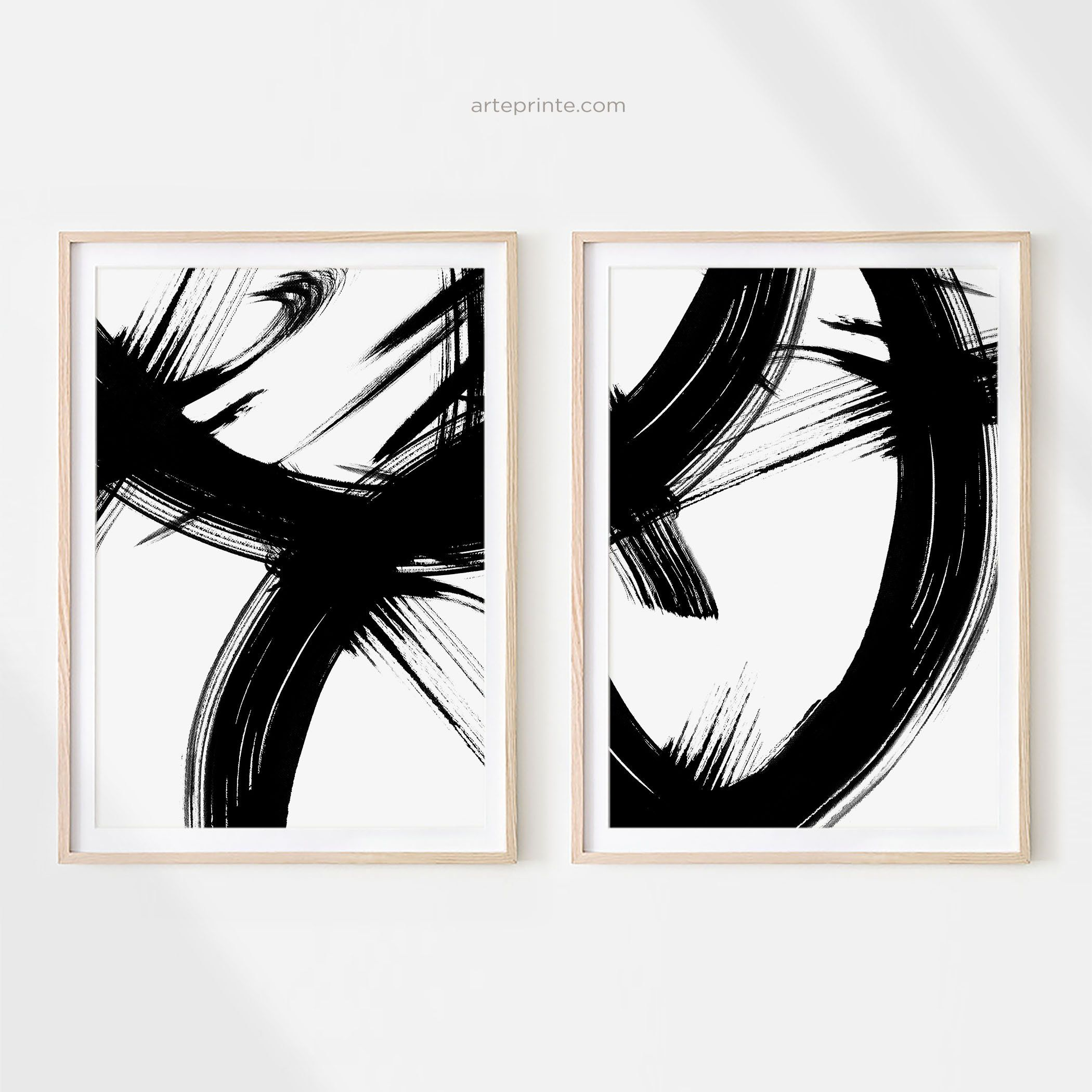 Black and White Minimalist Abstract Ink Painting Set of 2 Prints Printable Abstract Painting Brush Strokes Art Modern Wall Art Download