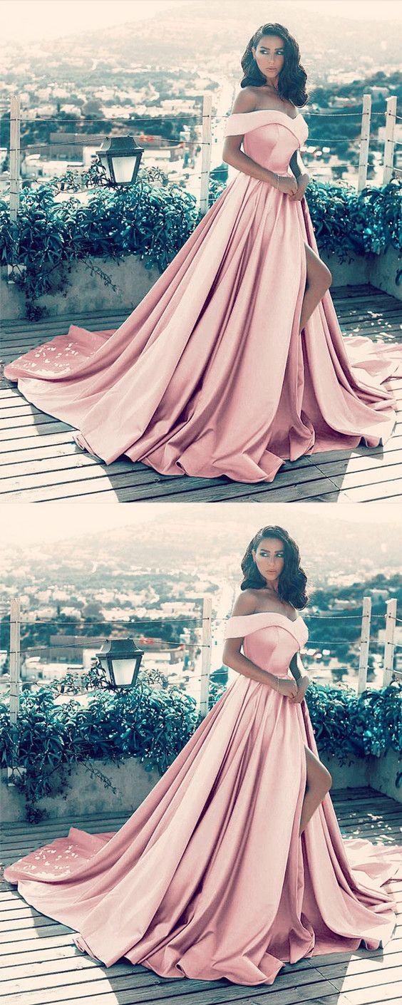 Elegant vneck off the shoulder long satin front slit evening dress