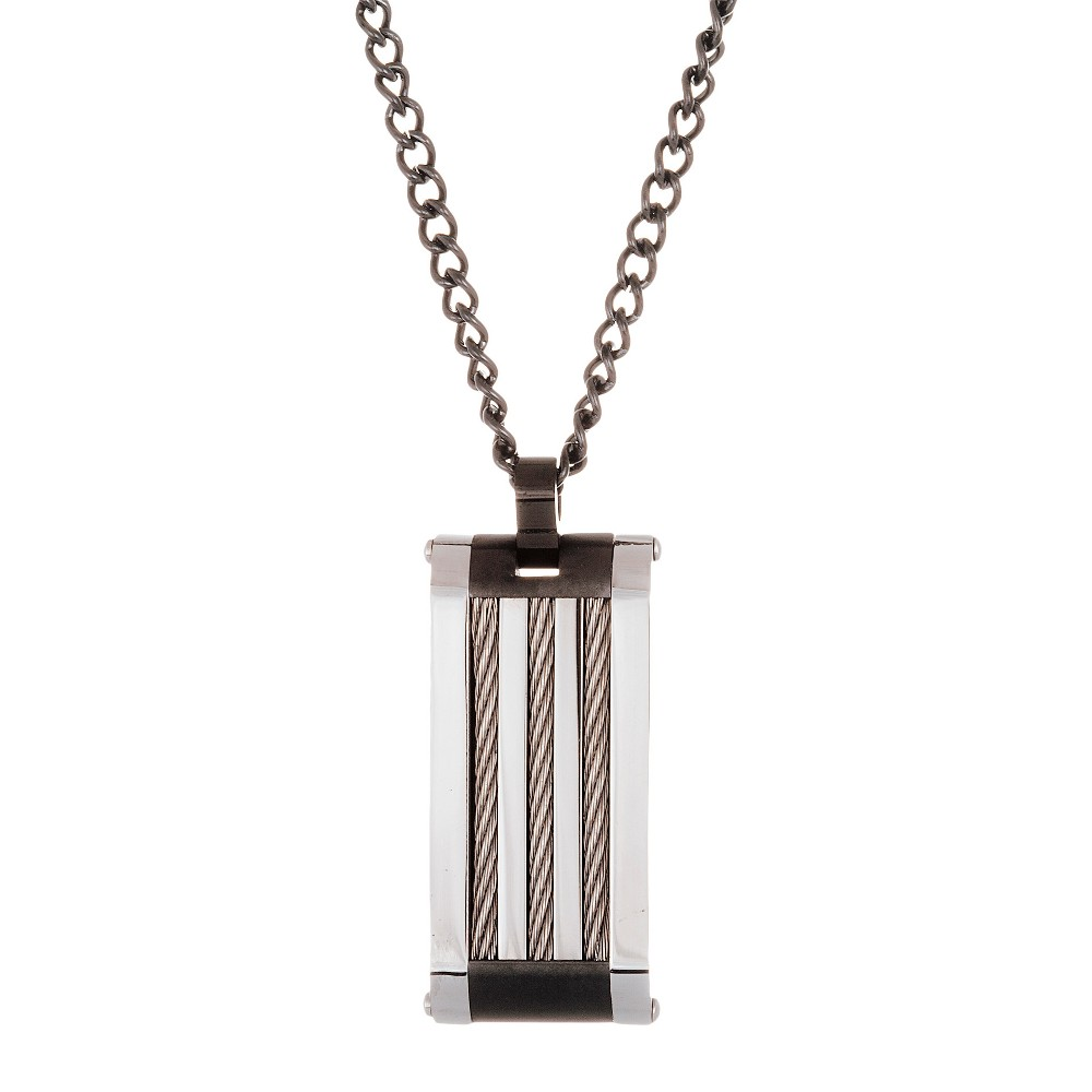 Men's Two-Tone Stainless Steel Wire Design Men's Necklace, Silver