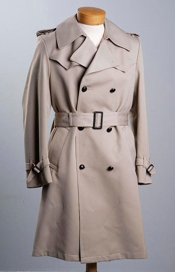 SOLD-Vintage 70s John Weitz Classic Mens Trench Coat by